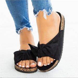 Cape Robbin Faux Suede Bow Slides Sandals